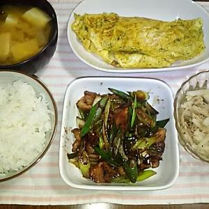 食事日記  豚肉のネギ醤油炒め。