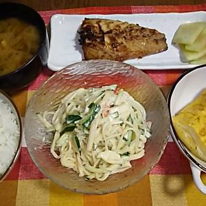 食事日記  サバの味噌漬け焼き。