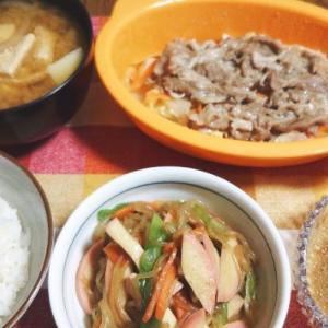 食事日記  豚肉と野菜のレンジ蒸し。