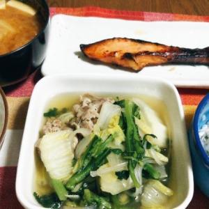 食事日記  豚肉と春菊の生姜煮。