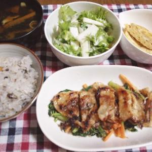 食事日記   豚肉と大根菜炒め。
