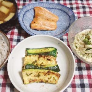 食事日記  ズッキーニの明太子炒め。