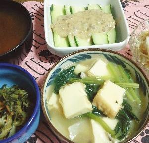食事日記  小松菜と厚揚げのあんかけ。