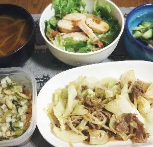 食事日記  牛肉とキャベツ炒め。