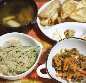 食事日記  大根の皮とひき肉の豆板醤炒め。