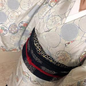 着物コーデ、白大島紬