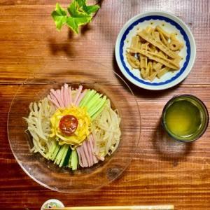 冷やし中華とタコウナの炒め煮