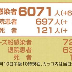 日本国内感染者数:6,071人  (+632人)4月10日