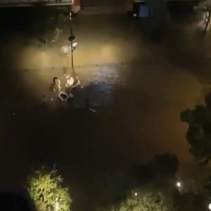 浸水した泥水の中で遊ぶ人たち【武蔵小杉】