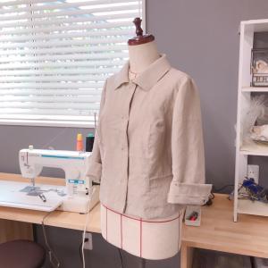 ジャケットの仮縫い準備