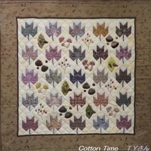 落ち葉と木の実のキルト / ミニ胡蝶蘭