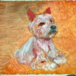 次の絵の題材は看板犬チャンタ/大阪府K様モモちゃん3才の犬用ケーキを/ダックス小麦ちゃんワンバナ
