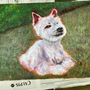 看板犬チャンタの絵の完成はまだまだ…道は遠い/孫の言葉にホロリ!/シーズーのらんちゃんワンバナへ