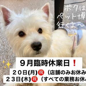 臨時休業日のペット博のお知らせ!/WANBANA健康強化!月間2週め始まり!/MIXの志音くんW