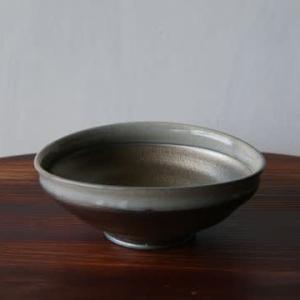 紫窯変貫入掛け分け楕円鉢