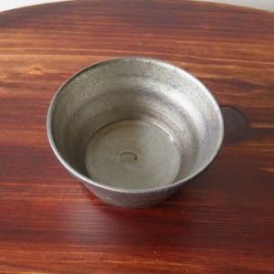 紫窯変貫入掛け分け楕円小鉢
