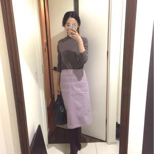 遅め出勤の日は、ピンクのスカートで。