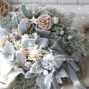 【レッスンレポ】グレーグリーンのシャビーなクリスマスリース♪
