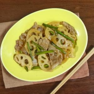 【のどに良いスタミナレシピ】豚肉とれんこん ニンニクの芽のはちみつ生姜醤油炒め