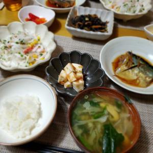 【ごま鯖の煮付け】の晩ごはん