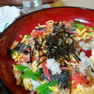 寒いのに【ちらし寿司】と具沢山の【茶碗蒸し】の晩ごはん