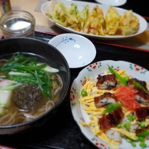 ちょっとだけ【散らし寿司】と【天ぷら蕎麦】の晩ごはん