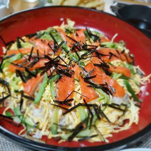 サーモンの切り落としで【ちらし寿司】の晩ごはん