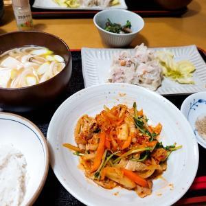 冷蔵庫の残り食材で【豚キムチ】【手作りシューマイ】の晩ごはん