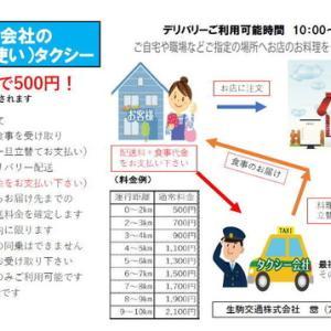 生駒交通株式会社のデリバリー(お使い)タクシースタートしました。