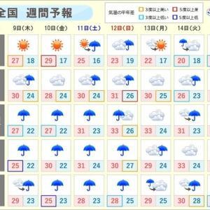 週末にかけて梅雨前線の活動が活発な状態が続くそうです( `ー´)ノ