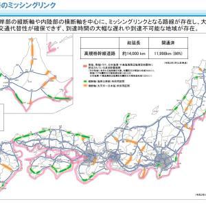 高速道路網全国約14,000㎞計画 開通済86% 全線開通まで約15年も・・・