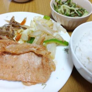 豚の味噌焼きと豚バラと冷凍ポテトの甘辛炒め
