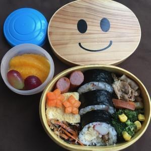 土曜日のお弁当(海苔巻き弁当作ってよー)