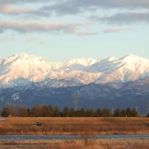 立山連峰 冬の晴天の夕暮れ