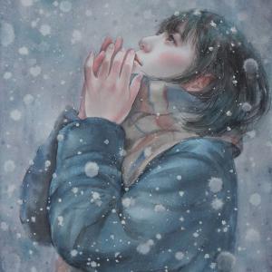 作品☆F6号「ひとひらの雪」