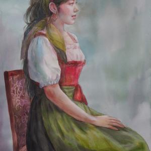 F20号教室で描いた「民族衣装の女性」
