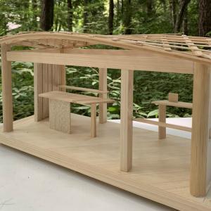 ■カラマツコンテナ ねじれた屋根 / Larch container Twisted Wood roof