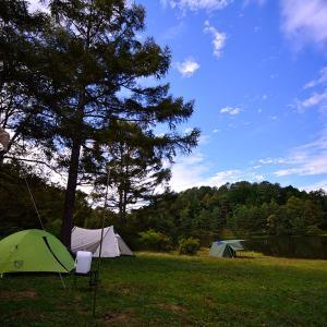 千代田湖キャンプ場 湖畔キャンプを旧友と楽しむ