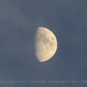 8月9日18時17分、月齢8.3のお月さん