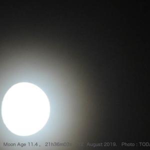 8月12日21時36分、月齢11.4のお月さんと土星