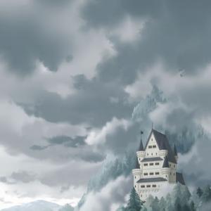 曇り空と西洋風古城