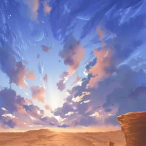 夕焼け空の荒野