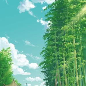 竹林とエメラルド色の空