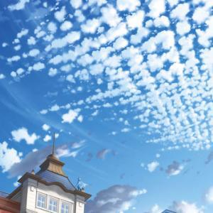駅舎から見上げた羊雲