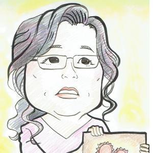 3月24日の似顔絵教室レポ「岡田晴恵教授」・「ギタリスト布袋寅泰」