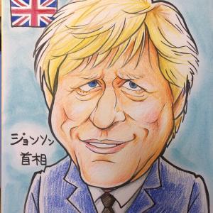 5月12日の似顔絵教室お手本「ジョンソン首相」「メルケル首相」
