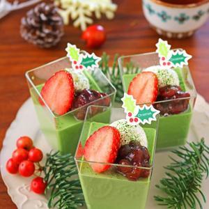 混ぜて冷やすだけ♪10分で簡単お気に入りクリスマス抹茶プリン