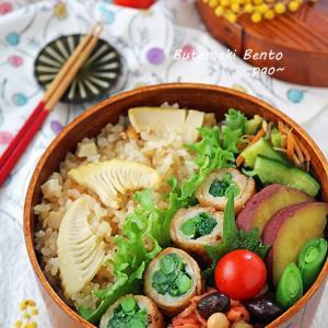 たけのこご飯とかき菜の豚肉巻きわっぱ弁当と母の日ごはん♪