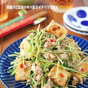 厚揚げと豆苗のサバ缶スイチリマヨ和え♪簡単副菜レシピ!