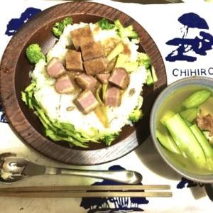 200904 【今夜の晩御飯】超厚切りハムカツカレー・きゅうりとお豆腐の冷製スープ
